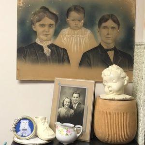 Creepy old family photo chalk color enhanced
